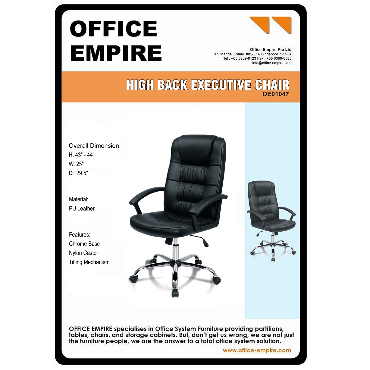 Office Furniture Singapore Office Chairs Singapore Oe01047