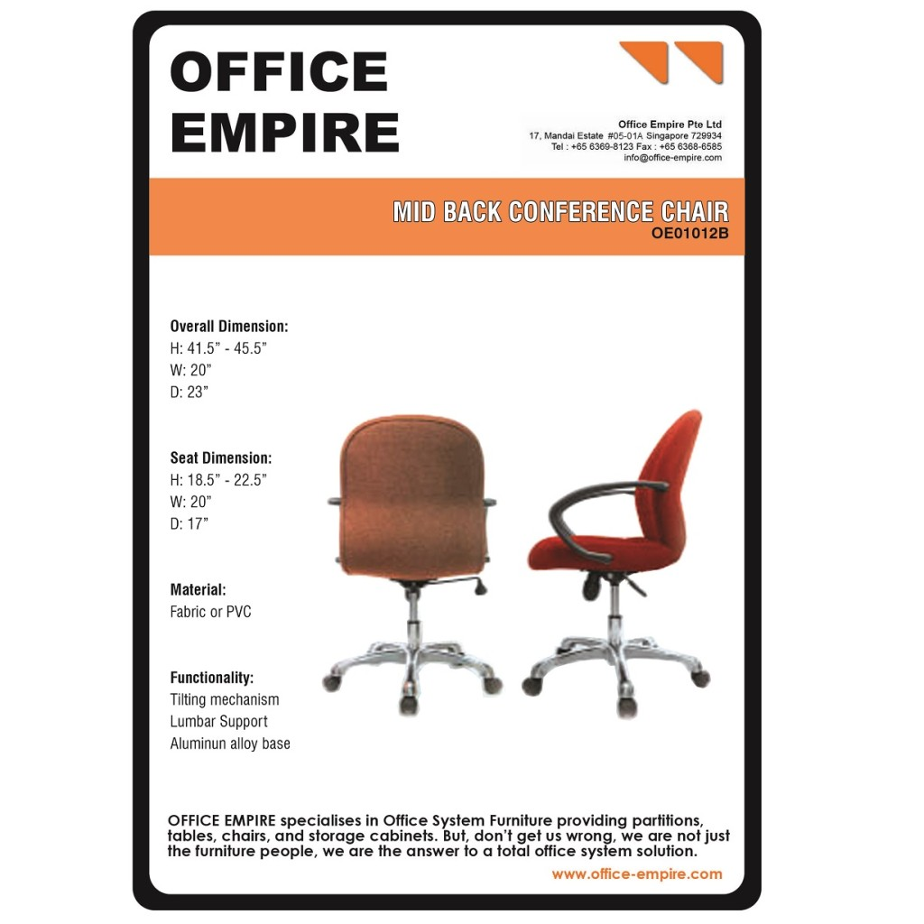 Low Back Fabric Chair office furniture singapore office chairs singapore oe01012B